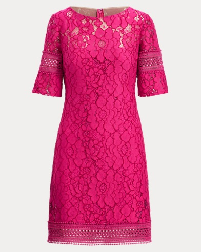 Lace Elbow-Sleeve Dress