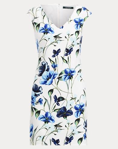 Floral Crepe Cap-Sleeve Dress