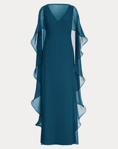Ruffled Georgette Cape Gown