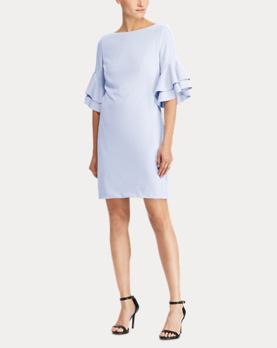 Ruffle-Sleeve Crepe Dress