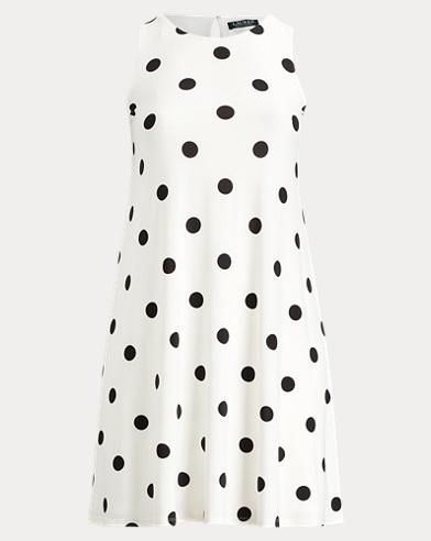Polka-Dot Jersey A-Line Dress