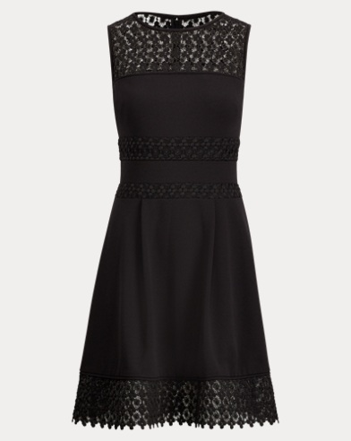 Lace-Trim Fit-and-Flare Dress