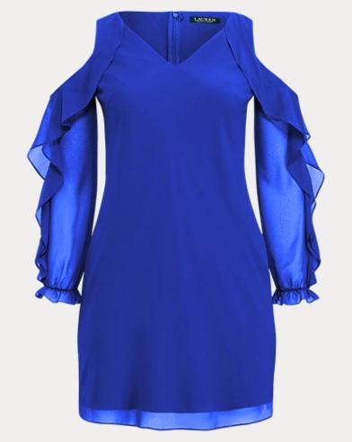 Georgette Cold-Shoulder Dress