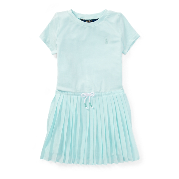 Ralph Lauren Pleated Jersey T-Shirt Dress Crystal Blue 4T