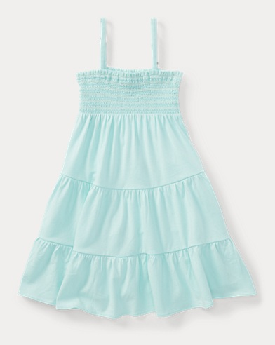 Smocked Tiered Jersey Dress