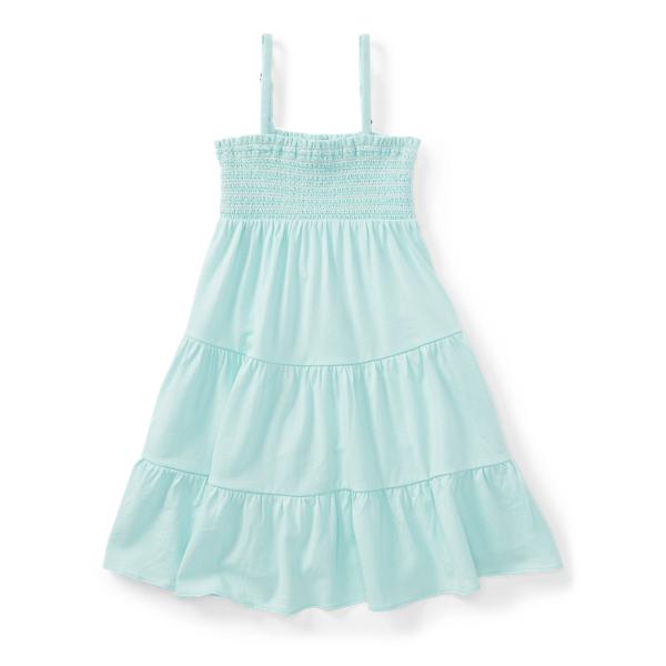 Ralph Lauren Smocked Tiered Jersey Dress Crystal Blue 6
