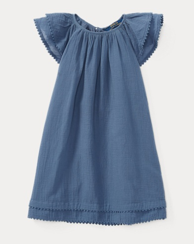 Cotton Flutter-Sleeve Dress