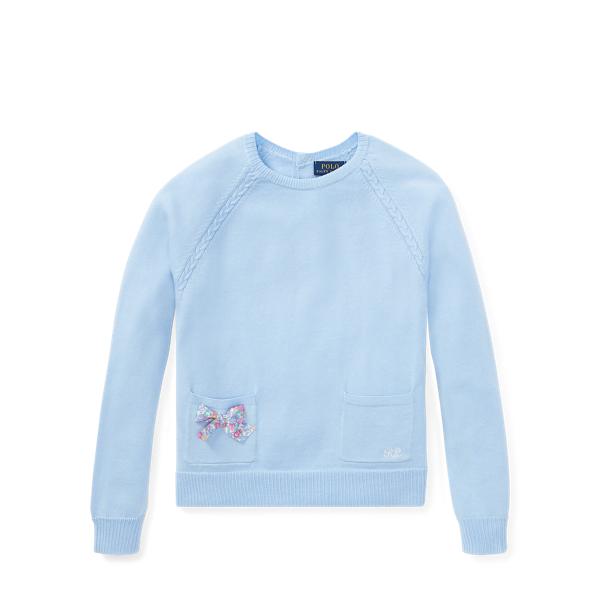 Ralph Lauren Bow-Back Cotton Sweater Elite Blue M
