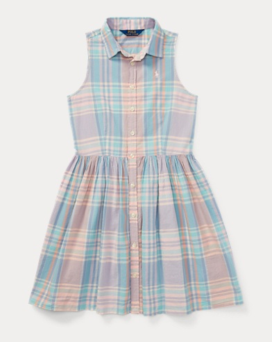 Madras Sleeveless Shirtdress