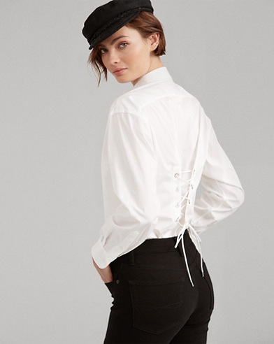 Lace-Up Cotton Boyfriend Shirt