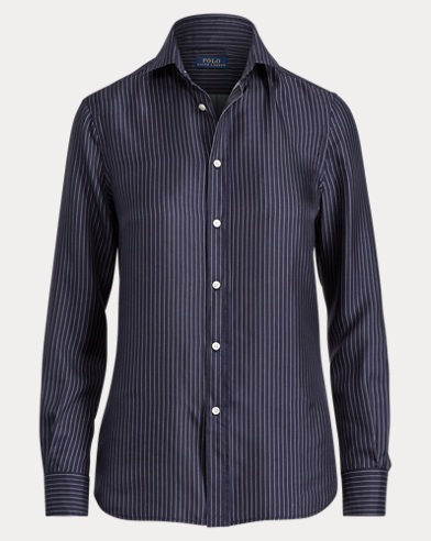 Pinstripe Silk Button-Down