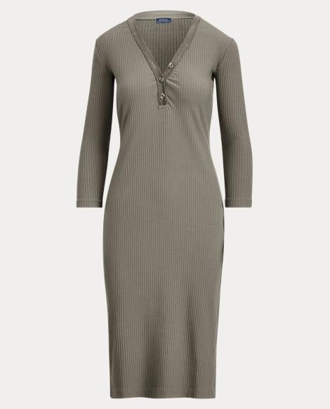 Cotton-Blend Henley Dress