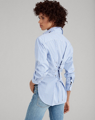 Lace-Up-Back Cotton Shirt