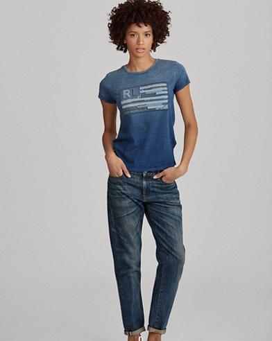 Indigo Flag Cotton T-Shirt