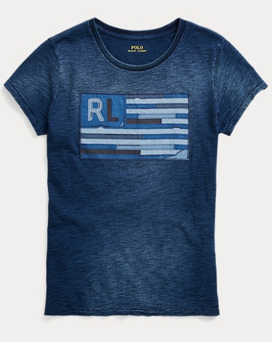 Indigo Flag Cotton T-Shirt