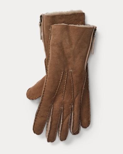 Shearling Side-Zip Gloves