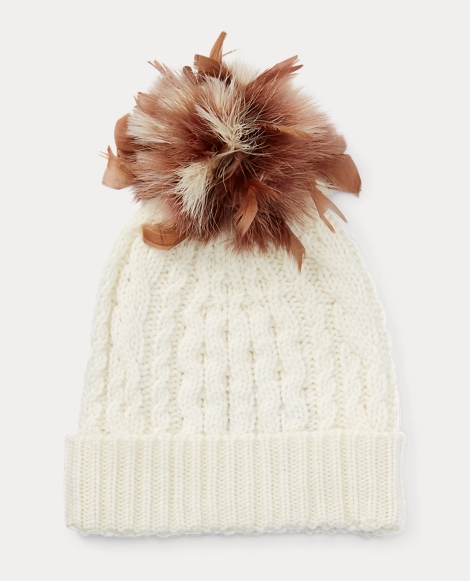 Feather-Trim Cable Wool Hat