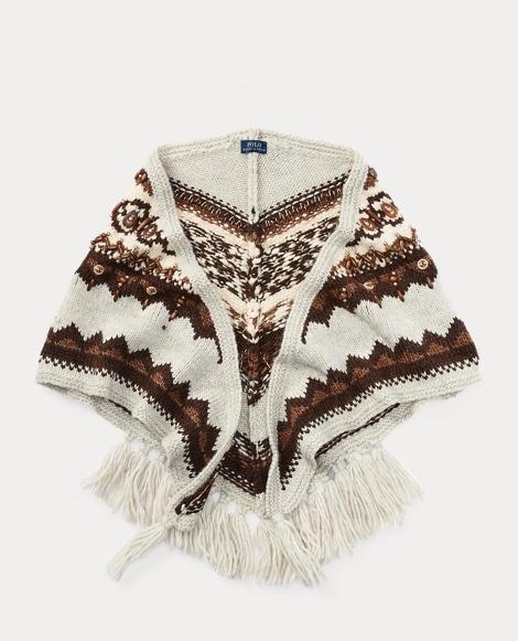 Beaded Triangle Wool Scarf