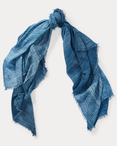 Striped Indigo Batik Scarf