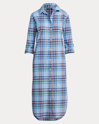 Plaid Cotton-Blend Nightgown
