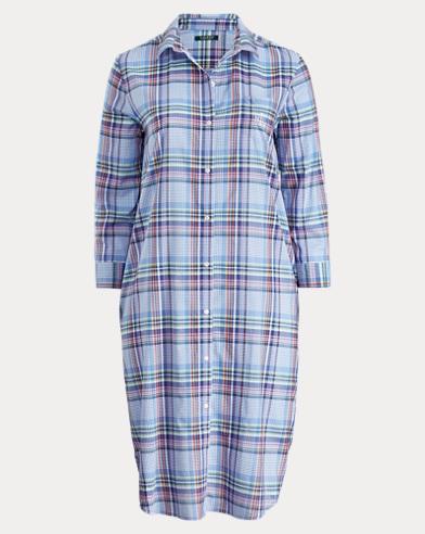 Plaid Cotton-Blend Nightgown