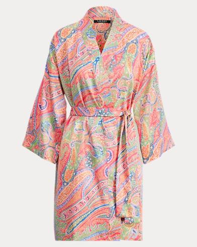 Paisley Satin Kimono Robe