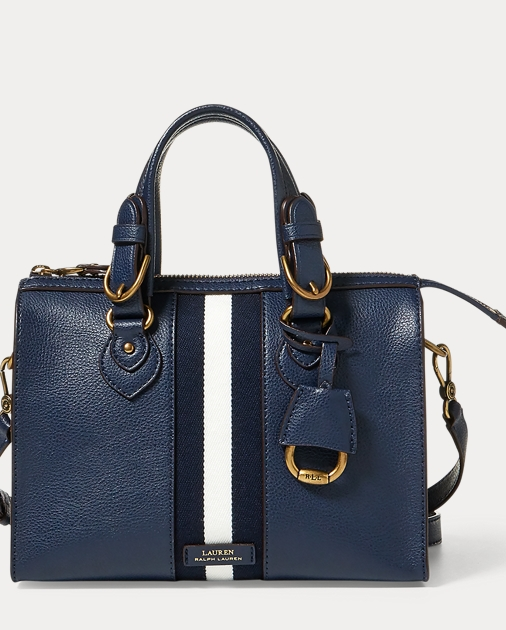 Small Stripe Leather Satchel by Ralph Lauren