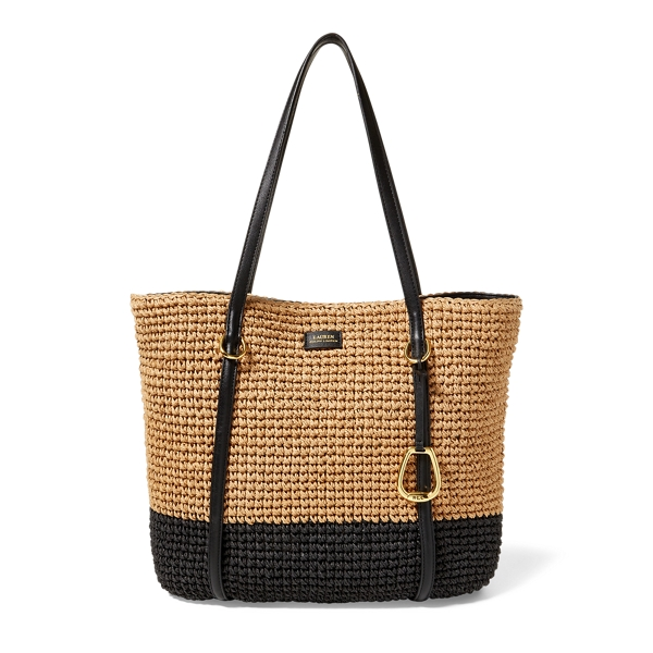 Ralph Lauren Straw Tote Natural/Black Base One Size