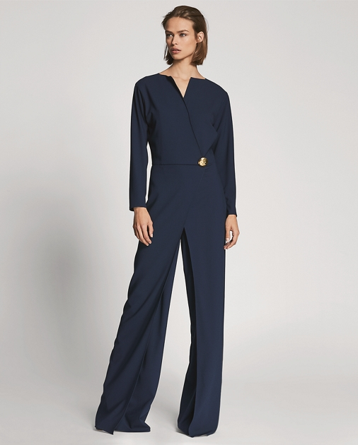Nigel Wool Crepe Jumpsuit by Ralph Lauren