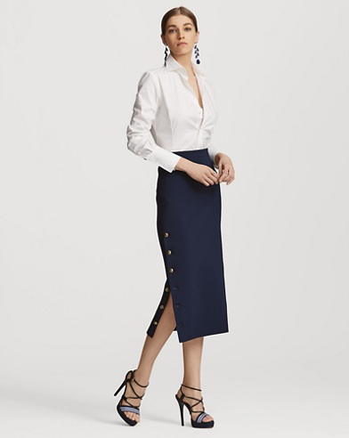 Buttoned Knit Midi Skirt