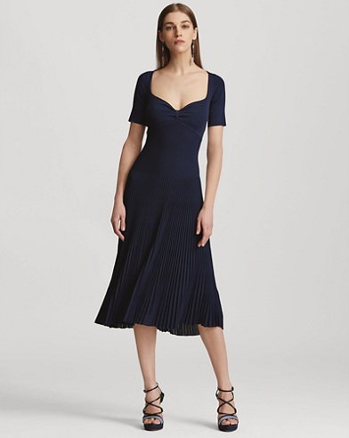 Back-Cutout Pleated Dress