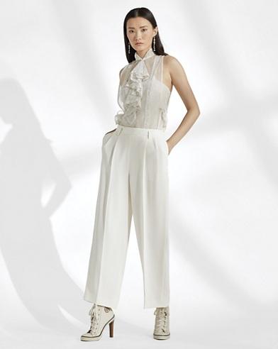 Duval Silk Straight-Leg Pant