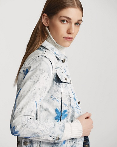 Painted Cropped Trucker Jacket