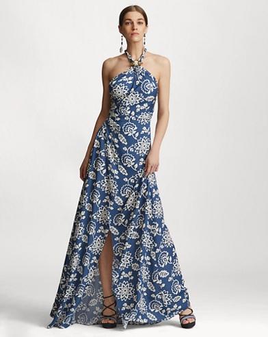 Jardan Floral Silk Halter Gown