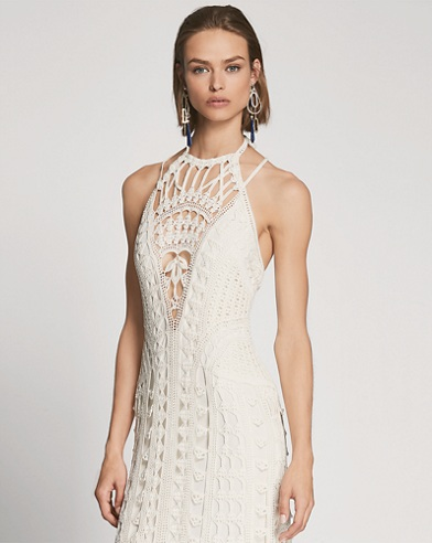 Crocheted Silk Halter Gown
