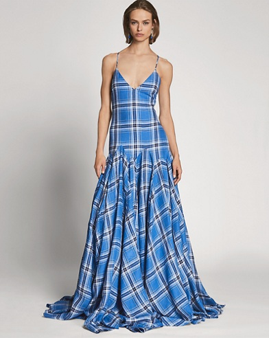 Nadeesha Plaid Linen Gown