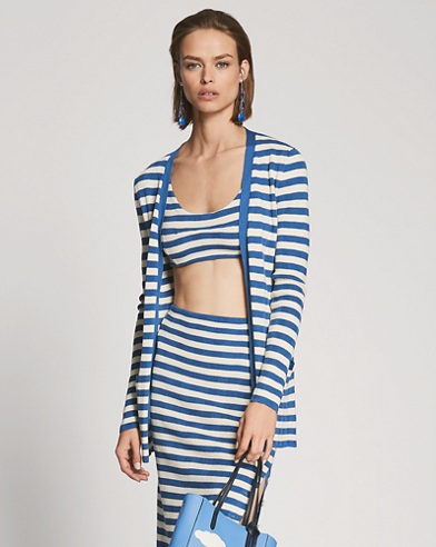 Striped Silk V-Neck Cardigan