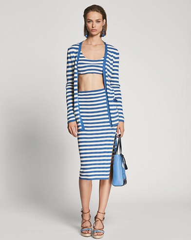 Striped Silk Pencil Skirt