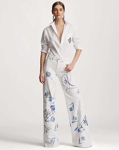 143 Embroidered Wide-Leg Jean