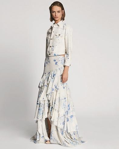 Phaedra Floral Linen Skirt