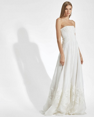 Tamia Embroidered Silk Gown