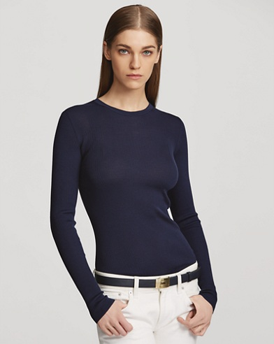Ribbed Silk Crewneck Sweater