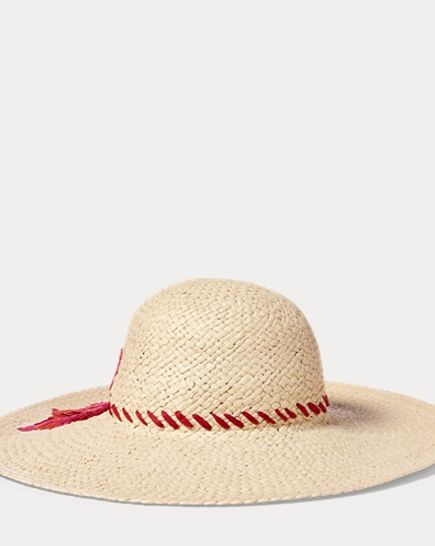 Embroidered Straw Sun Hat