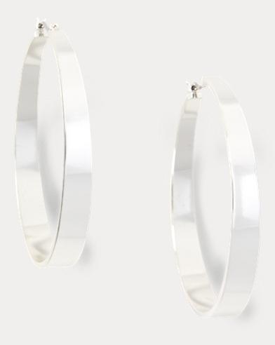 Tapered Silver Hoop Earrings