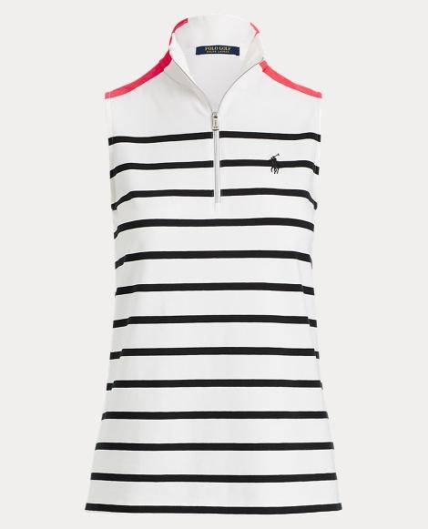 Striped Sleeveless Polo Shirt