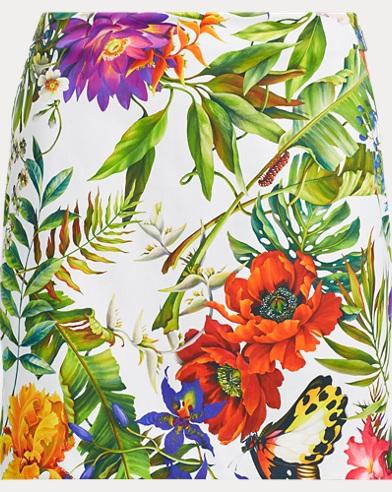 Floral-Print Satin Skort