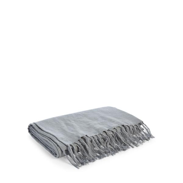 Ralph Lauren Elton Throw Blanket Pale Pewter 54