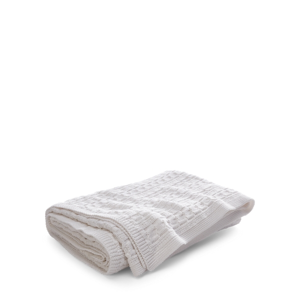 Ralph Lauren Davies Cable Throw Blanket White 54