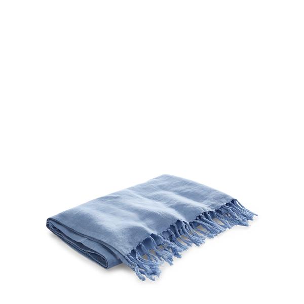 Ralph Lauren Britt Linen Throw Blanket Blue 54