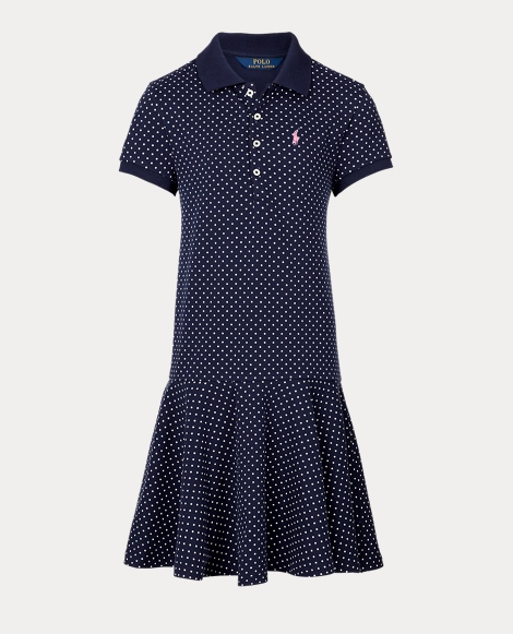 Polka-Dot Mesh Polo Dress